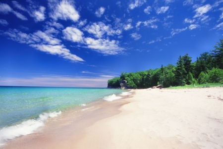 Chapel Beach of the Pictured Rocks National Lakeshore in Michigan Stock Photo - 9561545
