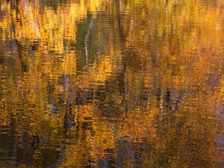 reflect: Beautiful fall colors reflect off the Kishwaukee River in Boone County, Illinois Stock Photo