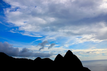 Pitons of Saint Lucia silhouetted against the sky photo