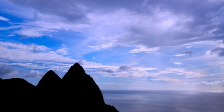 dropoff: Pitons of Saint Lucia silhouetted against the sky Stock Photo