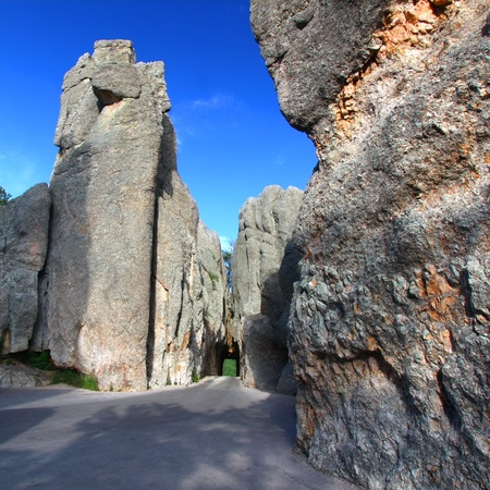 Narrow one lane tunnel through solid rock along the scenic Needles Highway of South Dakota photo