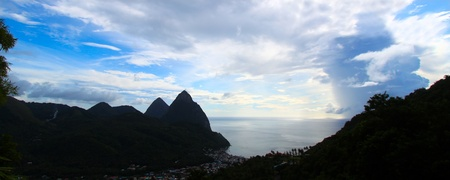 st lucia: Famous Pitons of Saint Lucia silhouetted against the sky Stock Photo