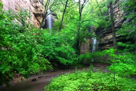 Beautiful waterfalls flow into Tonti Canyon on a spring day at Starved Rock State Park