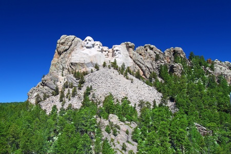 Mount Rushmore National Memorial carved into the peaks of the Black Hills in South Dakota