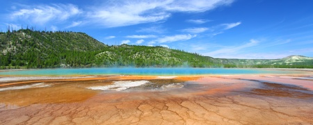 Panoramic view of the Grand Prismatic Spring in Yellowstone National Park - USA photo