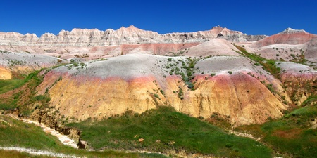 Dried and parched ground of Badlands National Park in South Dakota photo