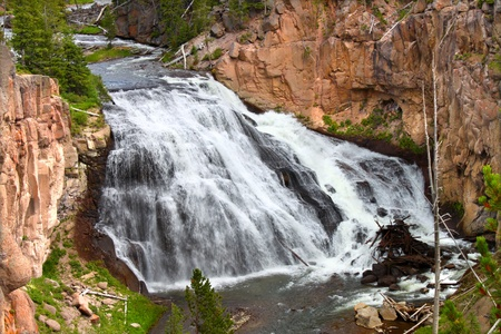 lows: Gibbon Falls lows through the canyons of Yellowstone National Park in the United States Stock Photo