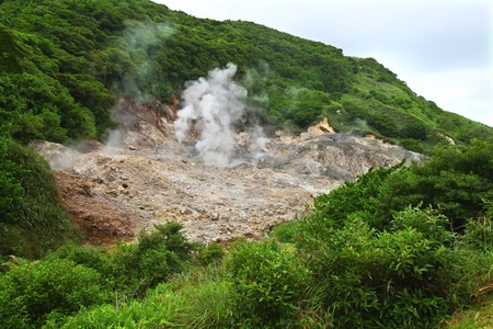 sulphur: View of the Sulphur Springs Drive-in Volcano near Soufriere, Saint Lucia.