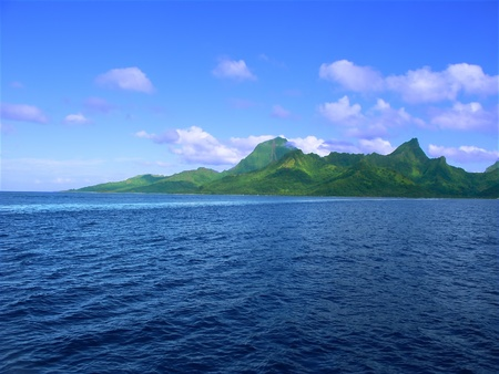 polynesia: Ocean view of the Island of Moorea (French Polynesia) Stock Photo