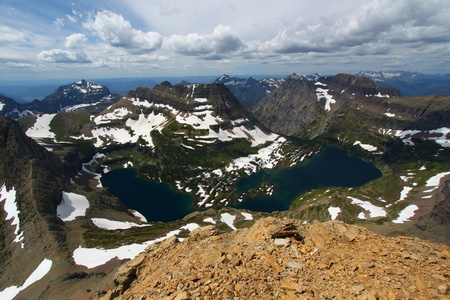reynolds: Hidden Lake of Glacier National Park seen from the summit of Mount Reynolds