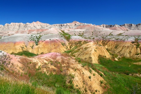 Beautifully colored mountains of Badlands National Park in South Dakota photo