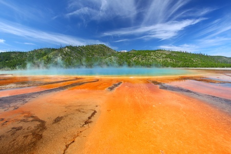 Grand Prismatic Spring on a beautiful summer day in Yellowstone National Park - USA photo