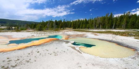 Doublet Pool in the Upper Geyser Basin of Yellowstone National Park Stock Photo - 10499392