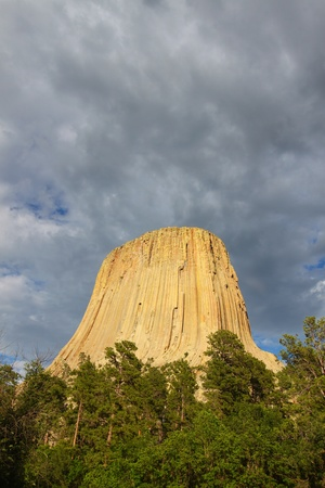 prominence: Devils Tower National Monument rises above the forests of northeastern Wyoming