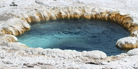 water feature: Hot water churns in Beach Spring at the Upper Geyser Basin of Yellowstone National Park