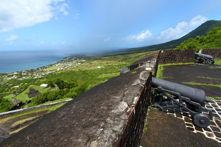 Beautiful coastline of St Kitts seen from Brimstone Hill Fortress National Park