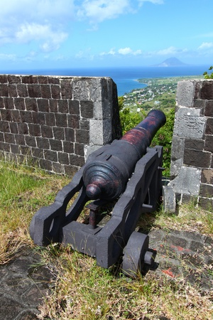 Cannon at Brimstone Hill Fortress National Park in Saint Kitts