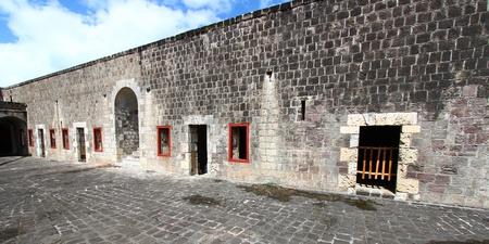 セントキッツ ブリムス トーン ヒル要塞の要塞のパノラマ ビュー