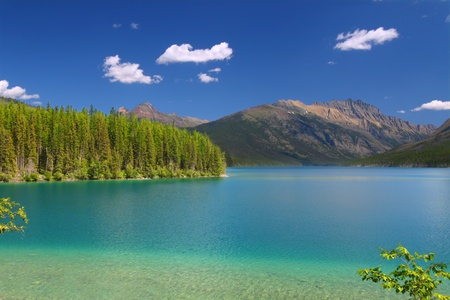 Kintla Lake in Glacier National Park on a beautiful summer day