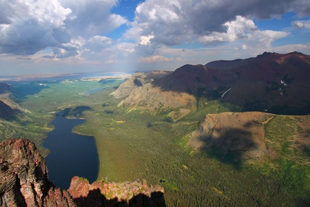Spectacular view of Two Medicine Lake from the top of Mount Sinopah - Glacier National Park photo