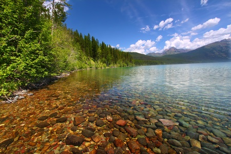 Kintla Lake seen on a beautiful summer day in Glacier National Park - USA Stock Photo
