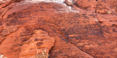 Petroglyphs on a rock wall at Valley of Fire State Park in Nevada photo