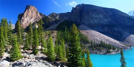Famous Moraine Lake of Banff National Park in Alberta, Canada photo