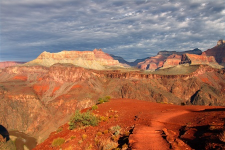 south kaibab trail: Early morning light illuminates the Grand Canyon in northern Arizona.