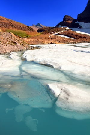 Ice floats in melting water of the Grinnell Glacier in Glacier National Park of Montana