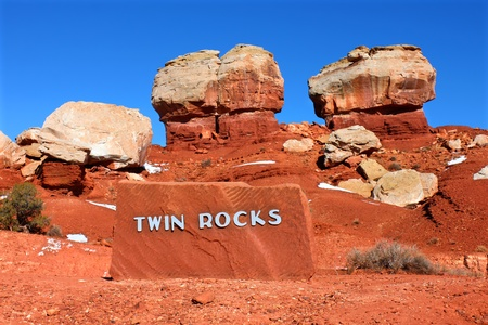 Giant Twin Rocks of Capitol Reef National Park in Utah Stock Photo - 11848814