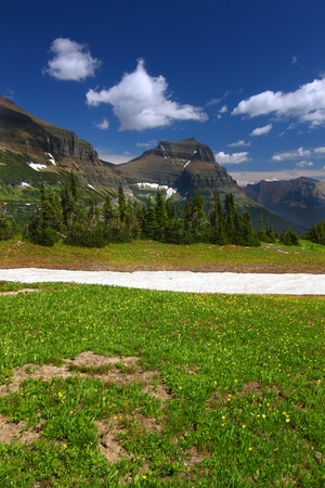 Melting snow at Logan Pass of Glacier National Park in northern Montana photo