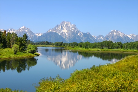 View of Grand Teton National Park over the Snake River in Wyoming
