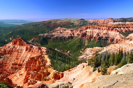 View of rock formations from Chessman Ridge of Cedar Breaks National Monument - Utah 写真素材