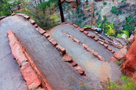 Steep switchbacks on the Angels Landing Trail leading out of Zion Canyon in Utah Stock Photo - 12885378