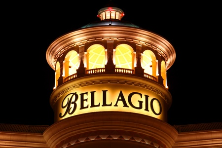 Las Vegas, USA - November 30, 2011: Bellagio is a posh hotel and casino located on the famous Las Vegas Strip.  Seen here is the top rounded section of the hotel. Editorial