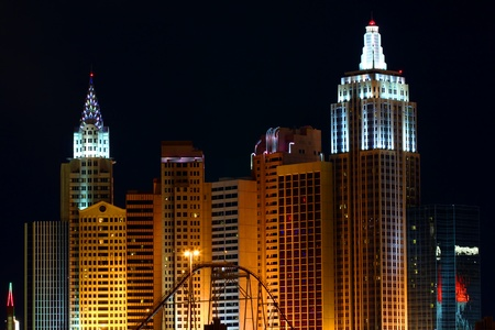 Las Vegas, USA - December 03, 2011: New York New York Hotel and Casino in Las Vegas on Tropicana Avenue and Las Vegas Boulevard seen from the west on a clear night.  The architecture of the resort mirrors the skyline of New York. Editorial