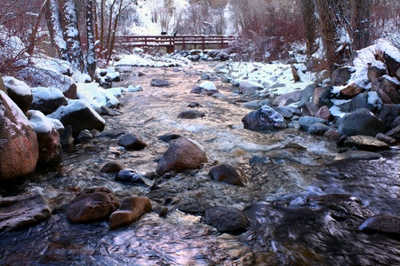 Frigid waters of Grizzly Creek run through the White River National Forest of Colorado photo