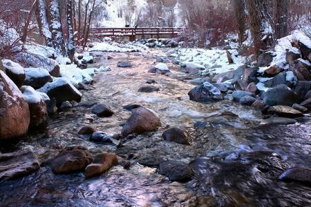 Ijskoude wateren van Grizzly Creek lopen door het White River National Forest van Colorado