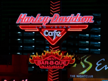 Las Vegas, USA - November 30, 2011: Bright street sign of the Harley Davidson Las Vegas Cafe on the Las Vegas Strip, proclaiming the best barbecue in Las Vegas Editorial
