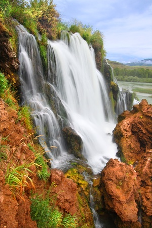Fall Creek Falls flows into the Snake River in the Caribou National Forest of Idaho photo