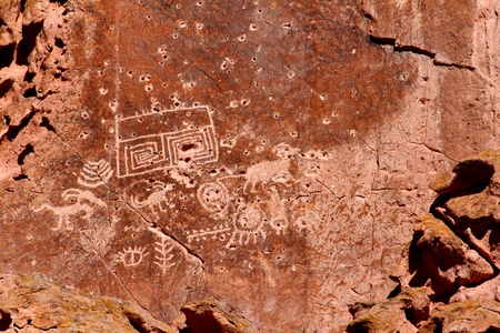 Petroglyphs adorn the cliff walls of Fremont Indian State Park in Utah Stock Photo