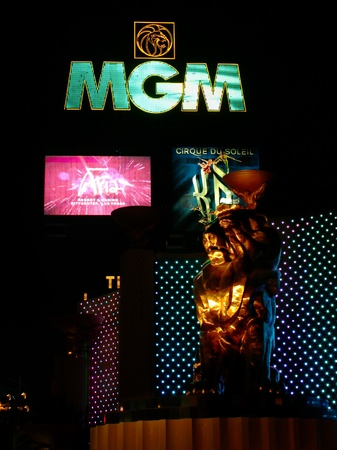 Las Vegas, USA - October 29, 2011: The MGM Grand Las Vegas is one of the largest hotels in the world.  The main sign on Las Vegas Boulevard and the bronze Leo the Lion statue are seen here.