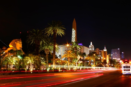Las Vegas, USA - October 29, 2011: Las Vegas Boulevard is often referred to as the Strip and contains a plethora of extravagant resort casinos.  Seen here is the south end of the Strip with Luxor Las Vegas, Excaliber Hotel and Casino, and the New York New