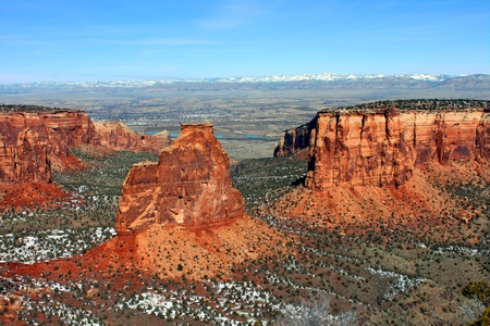 eye catching: Eye catching rock formations tower over the valley at Colorado National Monument
