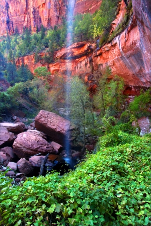 Waterfall flows into the Lower Emerald Pools of Zion National Park in Utah photo