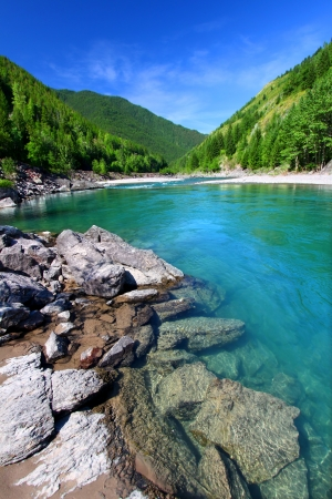 Bright turquoise waters of the Middle Fork Flathead River in the Lewis and Clark National Forest of Montana