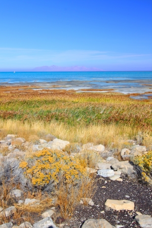 Landscape at Great Salt Lake State Park in northern Utah photo