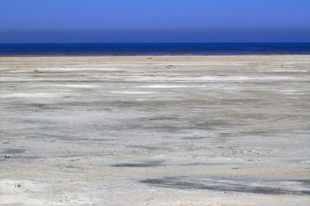 View of the salt flats surrounding the Great Salt Lake of Utah photo