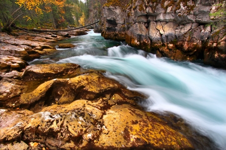 Cascading waters through Maligne Canyon of Jasper National Park in Canada Stock Photo - 13902470