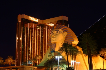 Las Vegas, USA - October 29, 2011: Luxor Las Vegas has an Egyptian theme and a large replica of the Great Sphinx of Giza seen in the foreground. Behind is The Hotel tower of the Mandalay Bay Resort and Casino which opened in 1999.